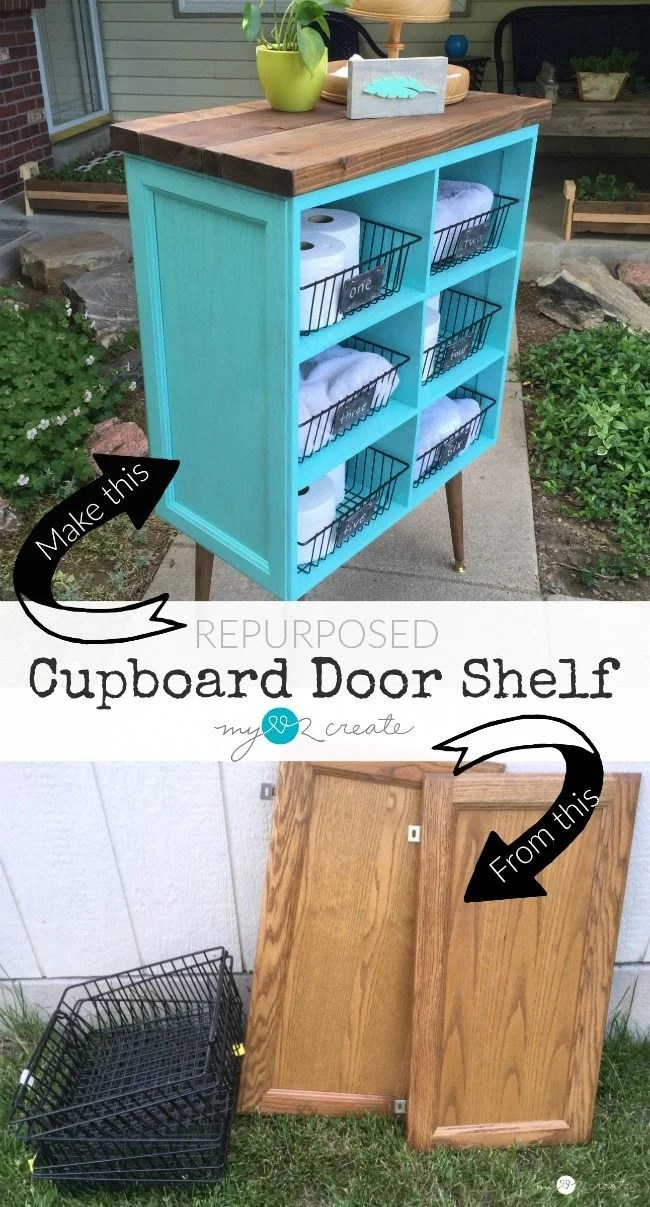 Repurposed Cupboard Door Shelf