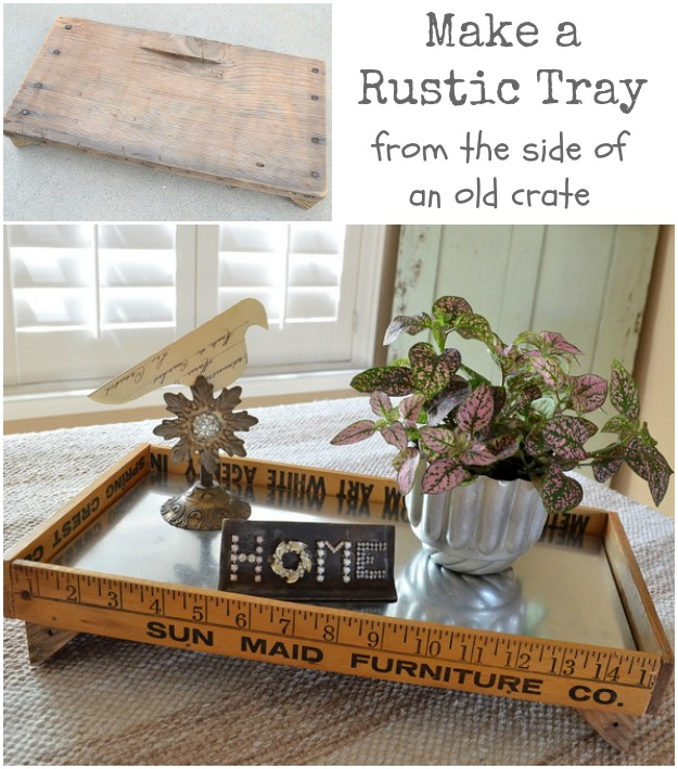 DIY rustic tray made from salvaged junk