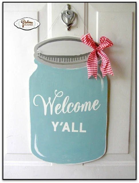 DIY painted wood mason jar door hanger