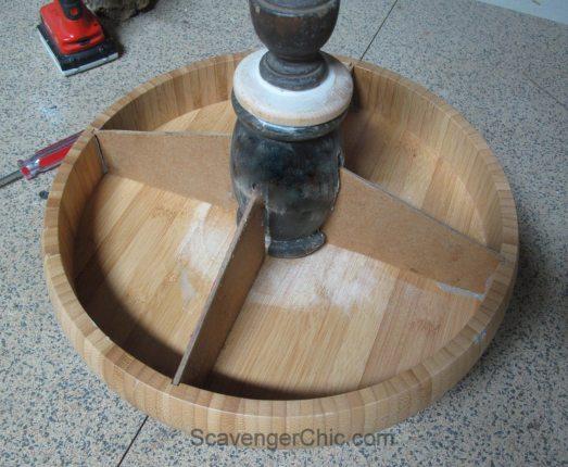 Wooden Divided Pedestal Server-004