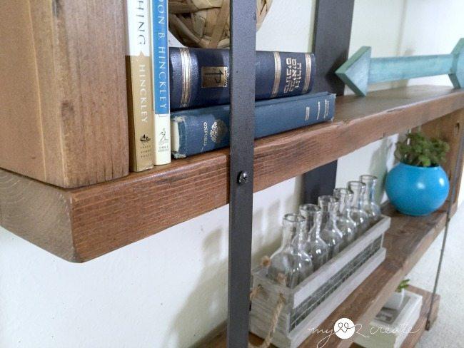 close up of Rustic Industrial Narrow Bookshelf