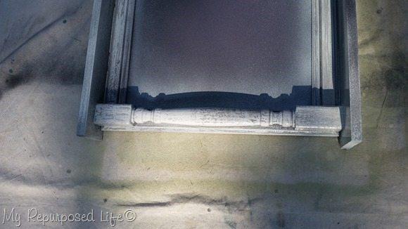 crackled spindle large cabinet door chalkboard