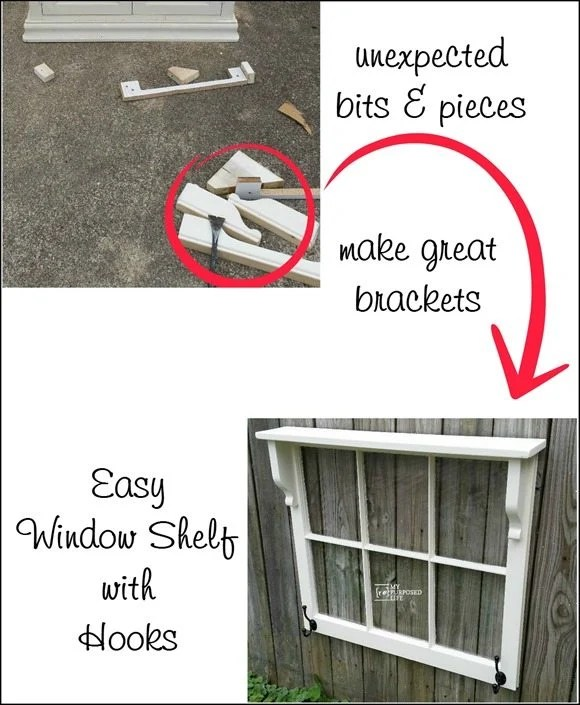 easy window shelf with hooks MyRepurposedLife.com