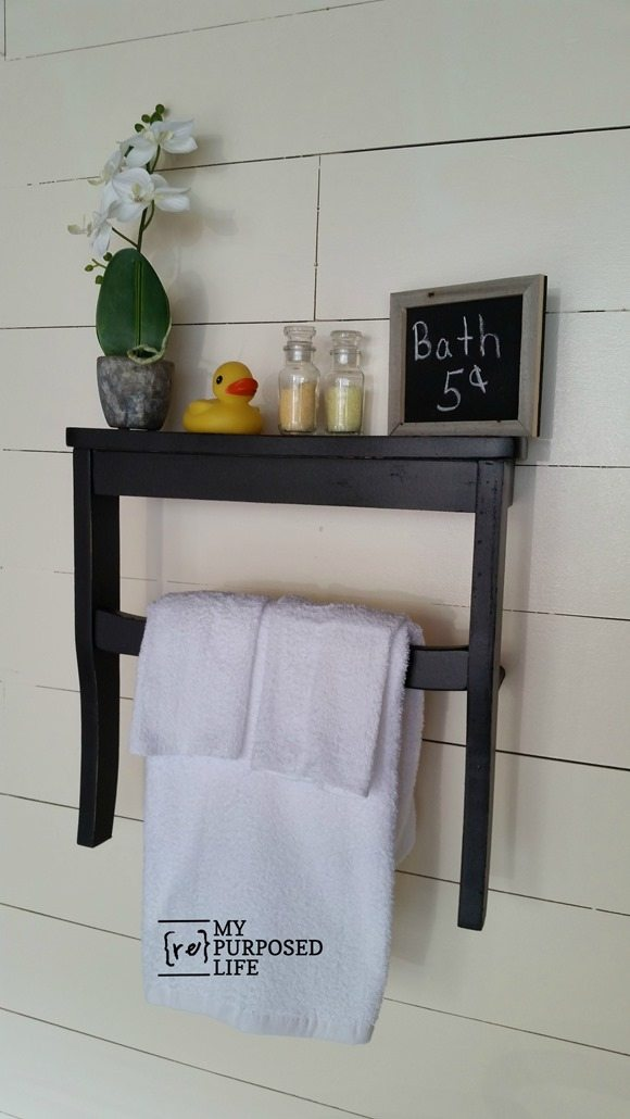 guest bath wall shelf repurposed chair seat MyRepurposedLife.com