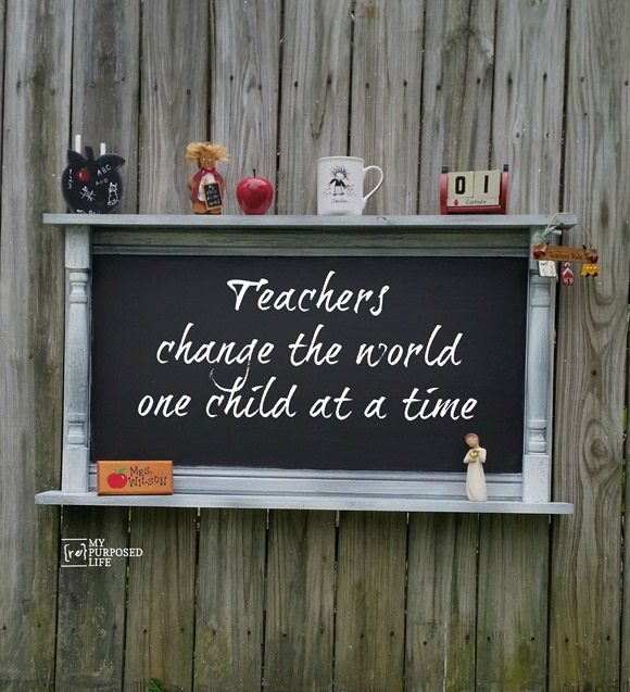 large chalkboard repurposed cabinet door teachers change the world MyRepurposedLife.com