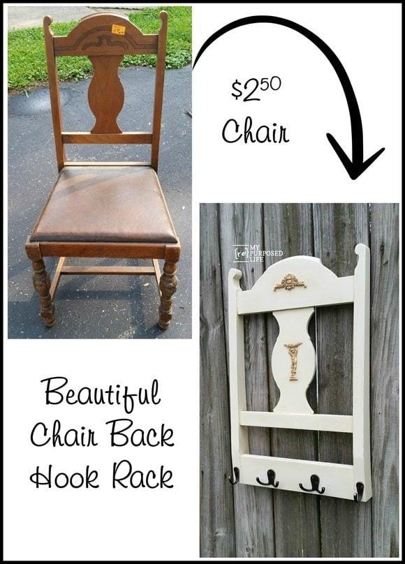 old chair into a beautiful chair back hook rack MyRepurposedLife.com