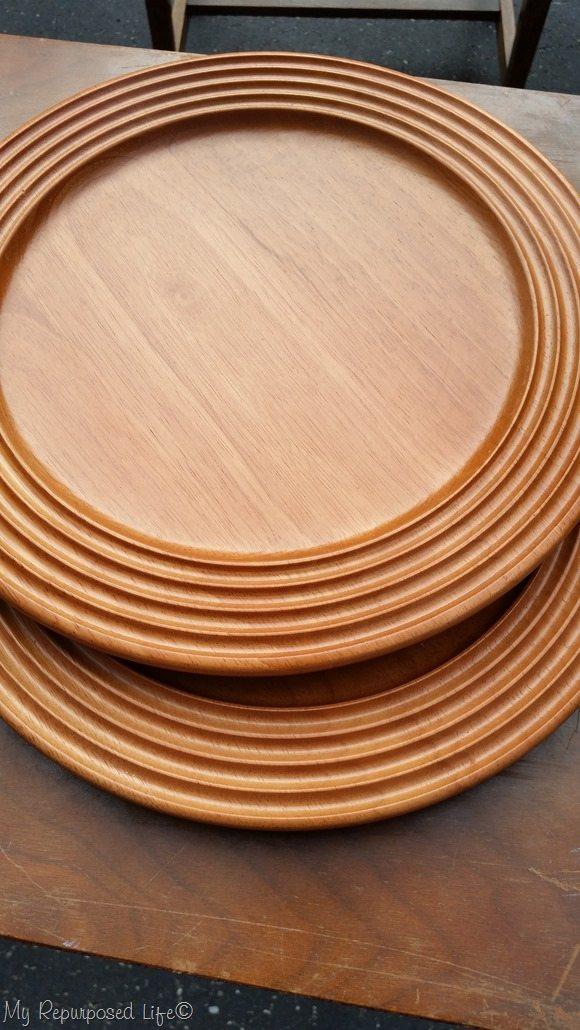 wooden thrift store plates