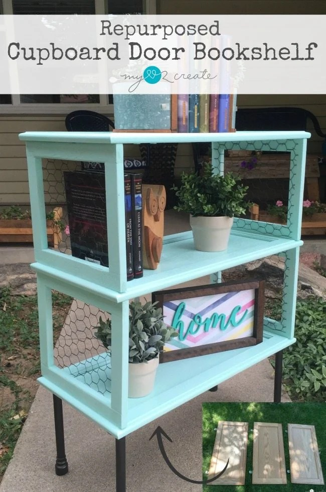 Repurposed Cupboard Door Bookshelf, MyLove2Create