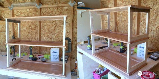 adding third cupboard door shelf