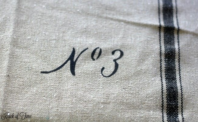 number font stencil on fabric