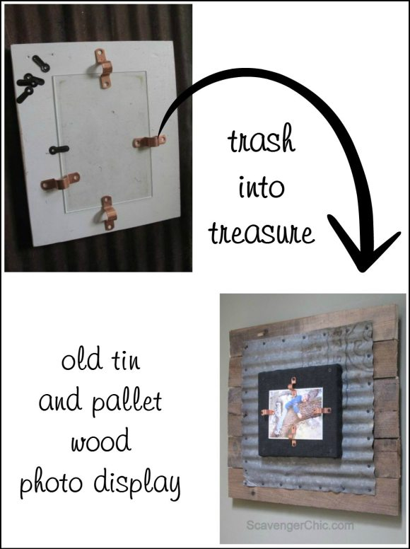 old tin and pallet wood photo display from Scavenger Chic via MyRepurposedLife.com