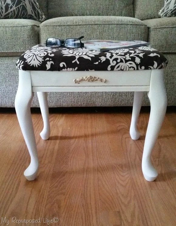 small thrift store footstool makeover MyRepurposedLife.com