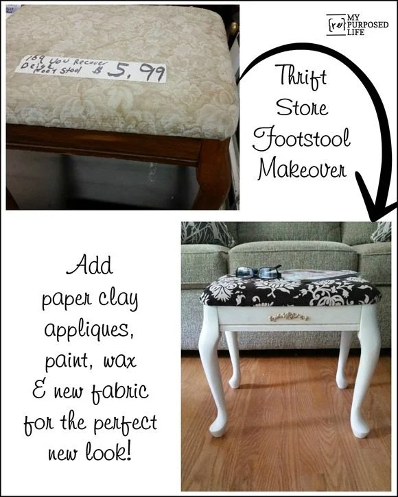 thrift store footstool before and after MyRepurposedLife.com