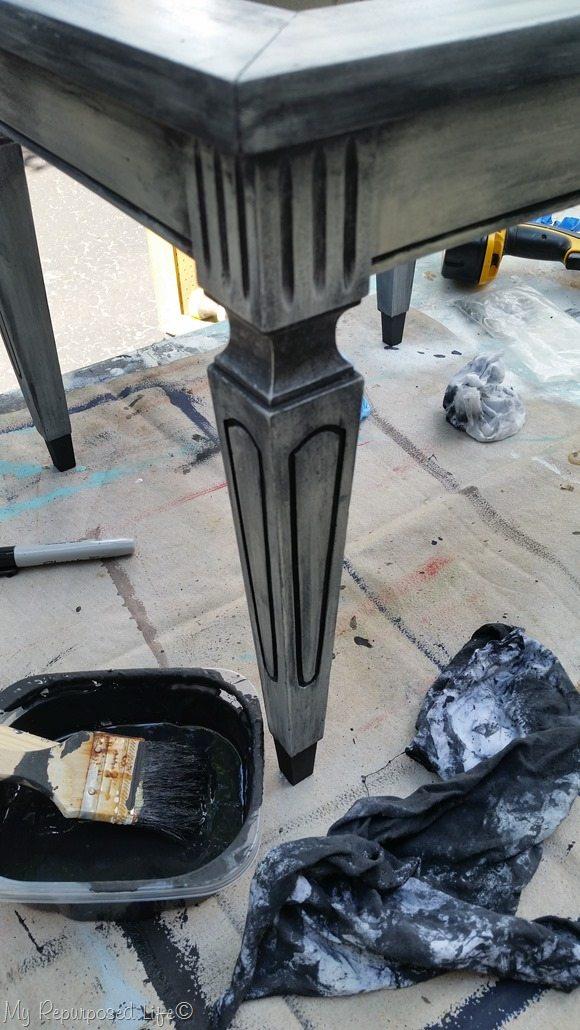 using black paint as a glaze