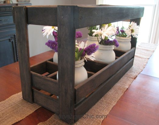 repurpose-bed-slats-into-floral-centerpiece-or-wine-carrier and painted mason jars