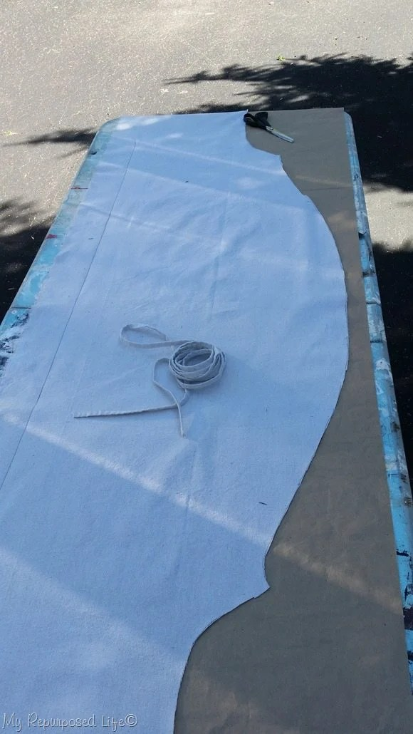 cut out fabric for back of headboard bench