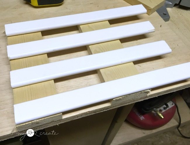 dry fitting crib slats to make trivets