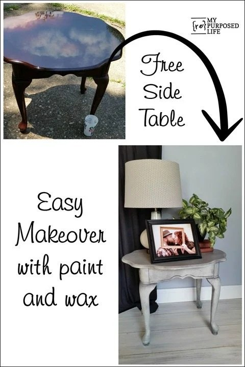 free side table easy makeover with paint and wax MyRepurposedLife.com