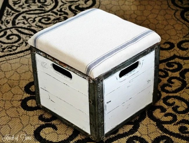 how to turn a milk crate into an ottoman with storage