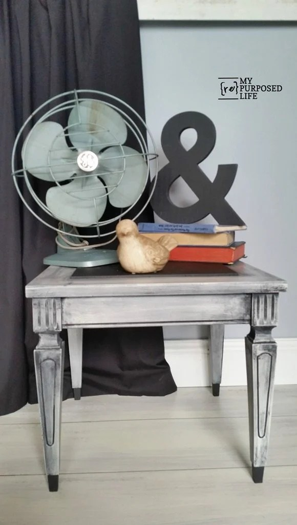 small vintage side table makeover MyRepurposedLife.com