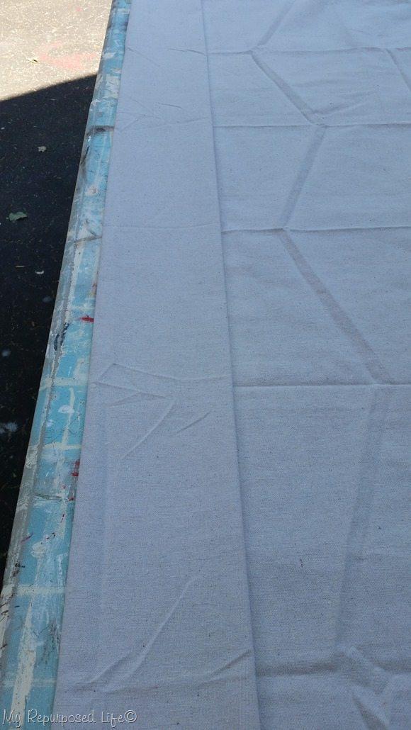 top of diy drop cloth grommet curtains