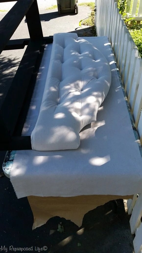 trace fabric for back of headboard bench