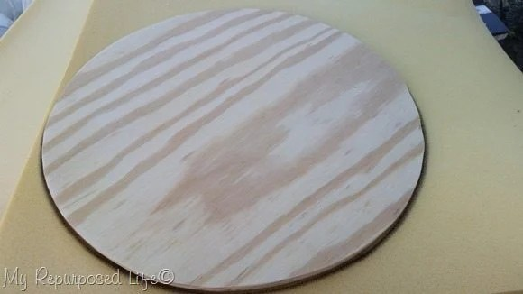 trace wooden chair seat circle onto foam