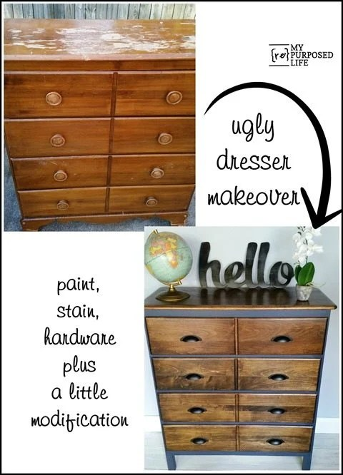 ugly dresser makeover with paint stain hardware modification MyRepurposedLife.com