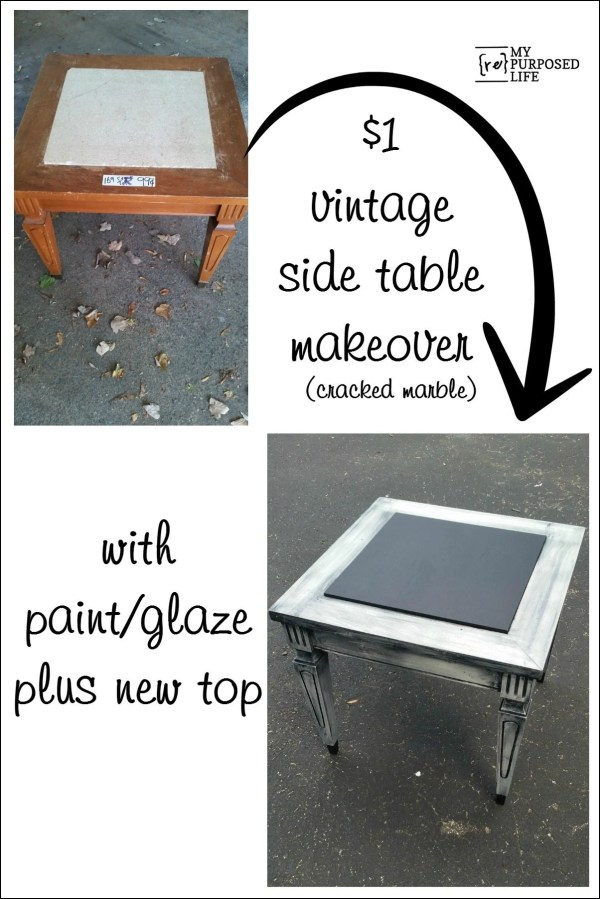 vintage side table makeover with paint and glaze MyRepurposedLife.com