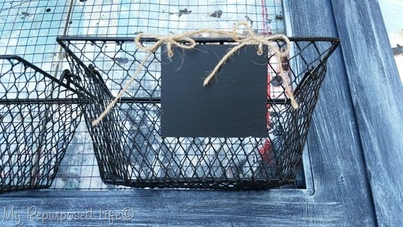 attach baskets and chalkboards