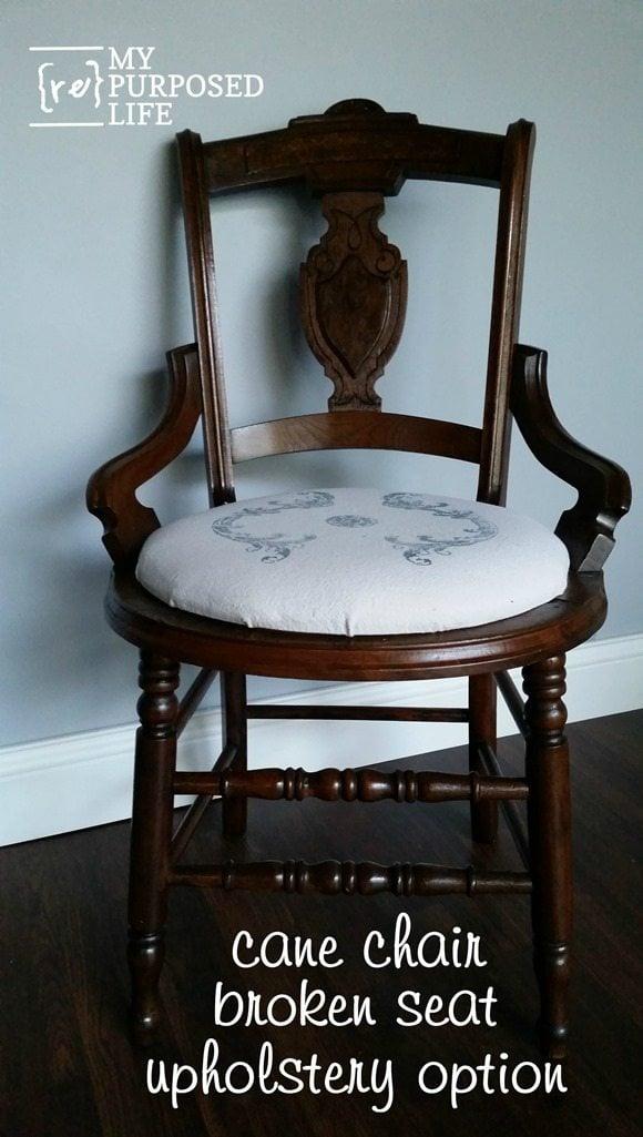 cane chair broken seat upholstery option MyRepurposedLife.com