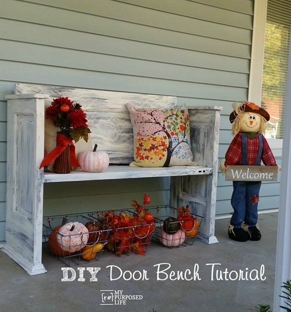 diy door bench tutorial MyRepurposedLife.com
