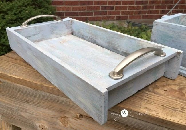 dry brushed tray from repurposed hymnbook holders
