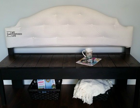 full sized upholstered headboard bench MyRepurposedLife.com