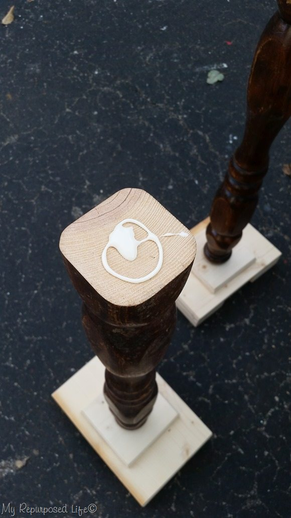 glue holds pedestal table leg