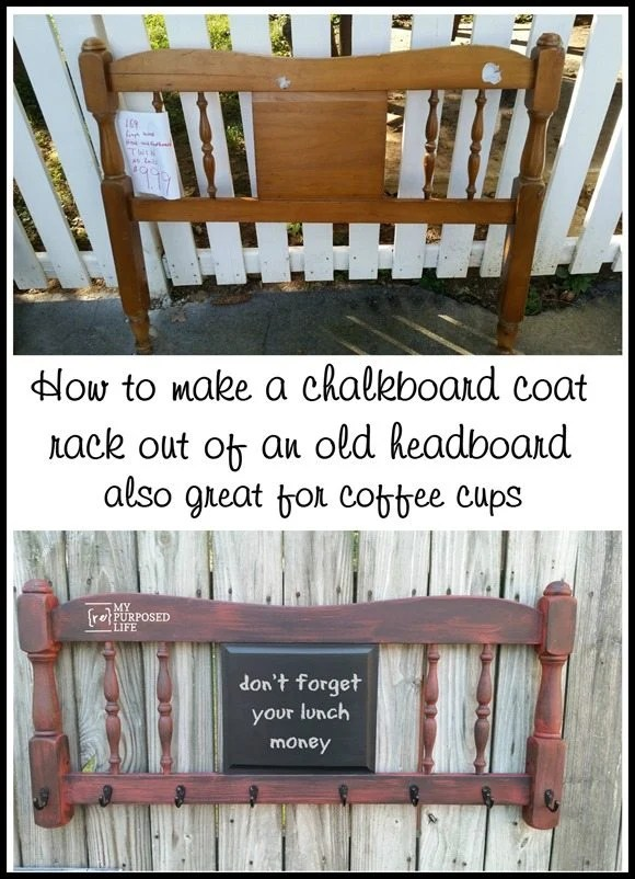headboard chalkboard coat rack coffee cup holder MyRepurposedLife.com