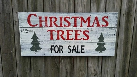 joanna gaines Christmas trees for sale sign MyRepurposedlife.com