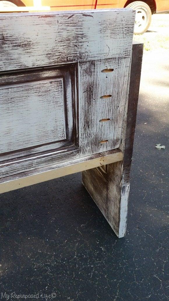 slanted back door bench