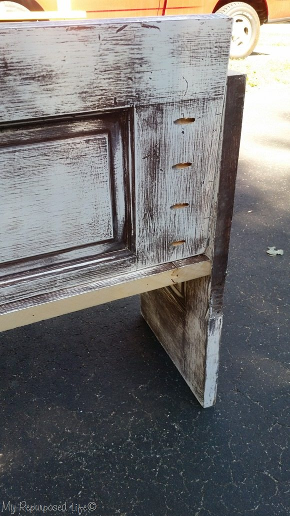 slanted back door bench