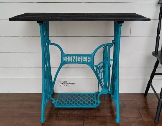 turquoise singer treadle base table