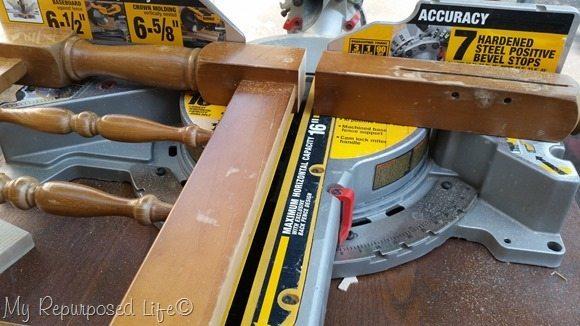 cut headboard on miter saw