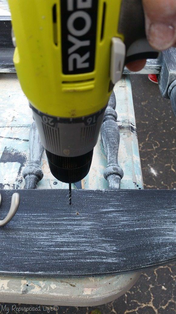 drill pilot holes for coat hooks