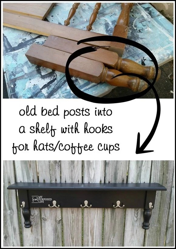 old bed posts into a shelf with hooks for hats-coffee cups and more MyRepurposedLife.com