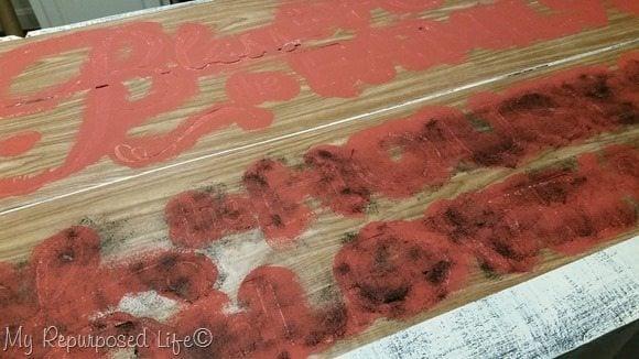 sponge wax over stencil