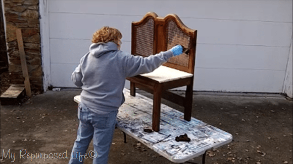 carefully apply gel stain to caning