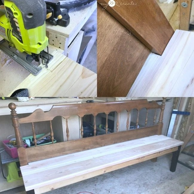 notching out seat boards for headboard bench