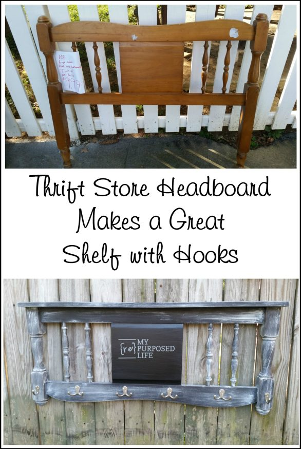 thrift store headboard makes a great distressed chalkboard coat rack