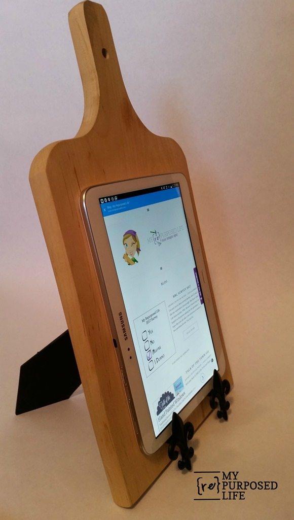 cutting board tablet holder using picture frame easel and fleur-de-lis cabinet pulls MyRepurposedLife.com