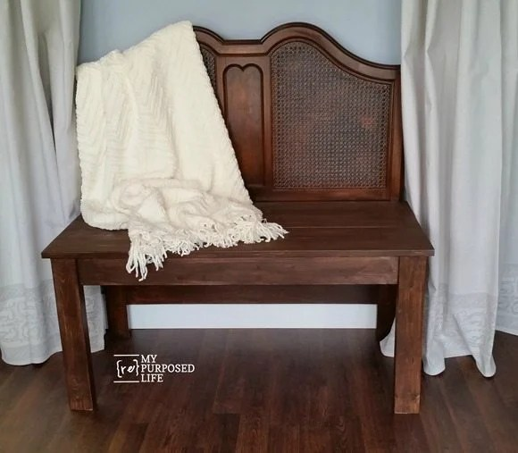 how to make an easy headboard bench video tutorial MyRepurposedLife.com
