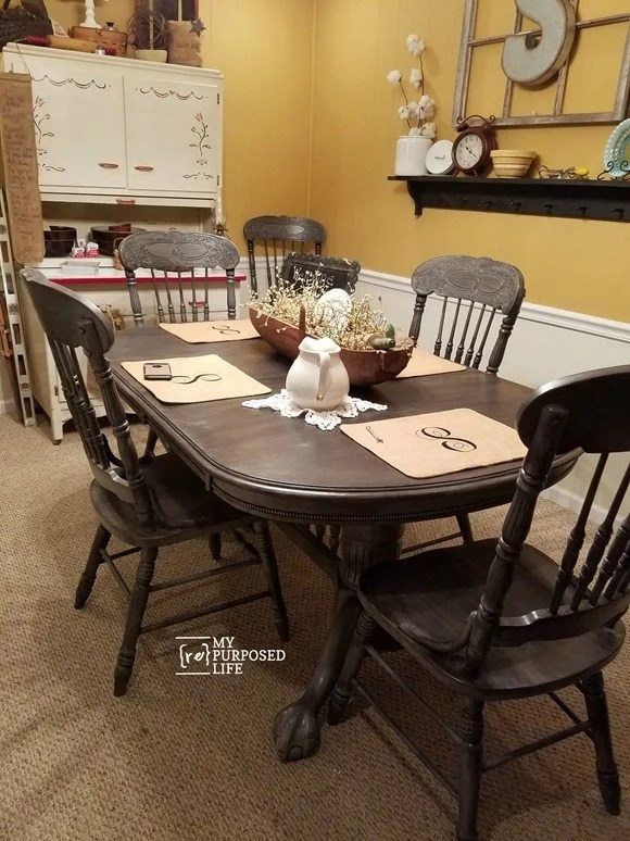 oak dining table chairs painted gray black MyRepurposedLife.com & Double Pedestal Oak Table and Chairs - My Repurposed Life®